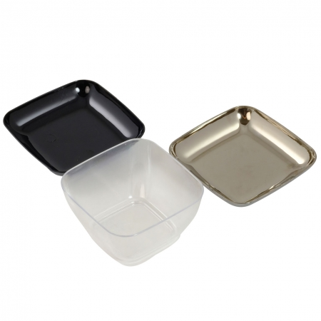 Mini posudice četvrtaste, sreberne i crne