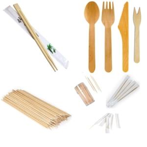 Drveni pribor za jelo, štapići i čačkalice